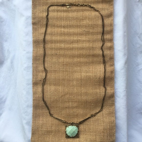 Lucky Brand Green Turquoise Stone Necklace w/ Gold